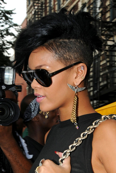 Rihanna Wears Shaved Hair Trend Mohawk Hairstyle