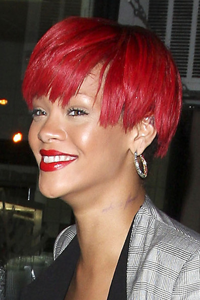 Rihanna New Red Colored Hairstyles 2
