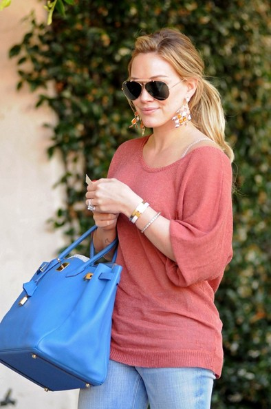 Hilary Duff Wears Softer Version of Colorblocking Trend